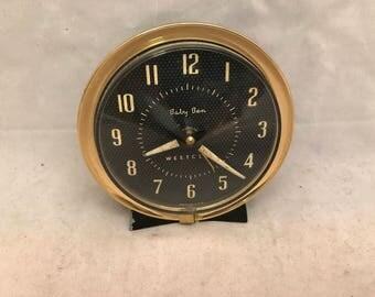 "Vintage Westclox Baby Ben Alarm Clock - Dark Brown or Black & Brass - 3.75"" Tall"