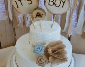 Rustic Cake Topper, Baby Shower Cake Topper, Burlap Cake Topper, Wood Cake Topper, It's A Boy Cake Topper, Rustic Baby Shower