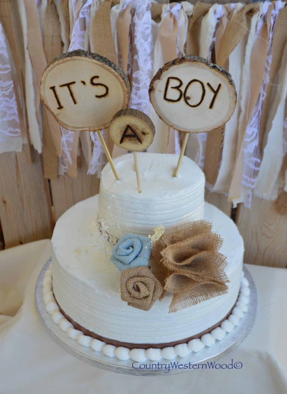 rustic cake topper baby shower cake topper burlap cake