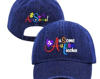 "Blue Jean ""#1 AuSome Autism Teacher"" Baseball Cap/Hat, Autism, Autistic, Awareness, Spectrum"