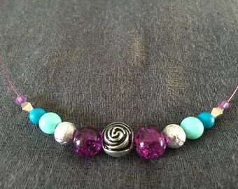 Silver, turquoise and purple wire necklace