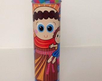 """7"""" Saint Anthony of Padua Candle Veladora de San Antonio de Padua Religious Candle Baptism Prayer Candle Tin Candle Holder San Antonio"""