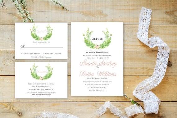 Floral wedding invite word_21,INSTANT DOWNLOAD, Editable Wedding template invitation. Microsoft Word template.Wedding Printable