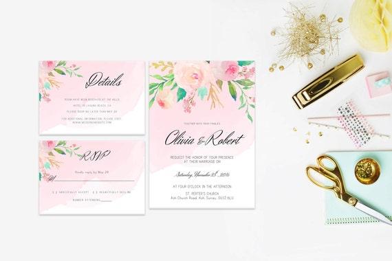 Floral wedding invite word_61,INSTANT DOWNLOAD, Editable Wedding template invitation. Microsoft Word template.Wedding Printable