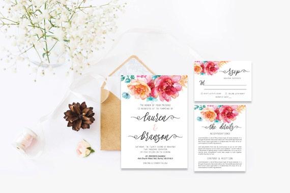 Flower wedding invite_25,Printable Wedding Invitation Suite,Wedding Invite Set,Wedding Printable,Calligraphy