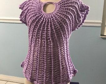 Crochet Blouse - Purple - M or L