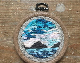 Paradise seascape - hand embroidered
