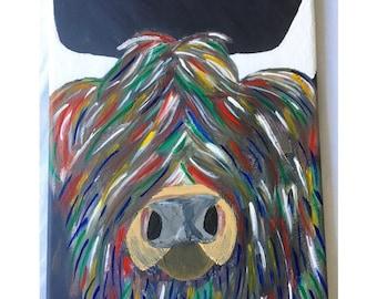 Acrylic Highland Cattle Painting