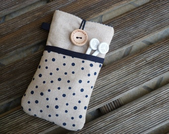 iPhone SE case cover, iPhone 6 Fabric Case, iPhone 5 Pouch, iPod Touch 6g case, iPhone 7 Plus sleeve, iPhone 7  Pouch, Blue dots pocket