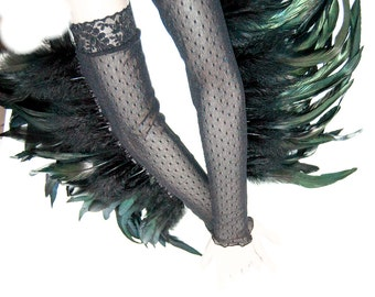 Burlesque feather gloves transparent with dots