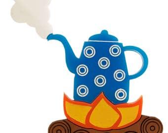 kettle on fire brooch
