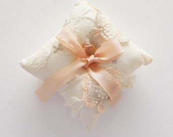 Bridal Ring Cushion / Ring Pillow 3D applique over tulle