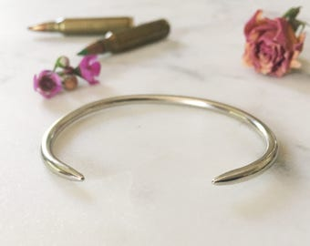 Coyote cuff bracelet, silver spike bracelet, brass handmade bracelet, statement jewelry, gift for her, geometric bracelet, boho cuff