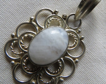 Price Cut!  Moonstone Oval Filagree Sterling Silver Pendant