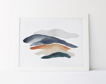 Watercolor Painting, Modern Watercolor Fine Art Giclée Print, Abstract Landscape, Indigo and Ochre