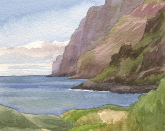 "8x10"" Hawaii Beach Art Print - Polihale Beach watercolor, Kauai ocean landscape painting, Na Pali painting, Hawaiian artwork"