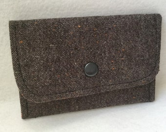 Wallet in rabat in Brown Tweed fabric - Ref. PM12
