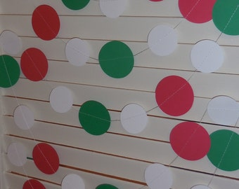 Christmas Paper Garland, Red Green and White Paper Circle Garland, Holiday Banner,