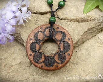 Magical necklace ~ moon phases ~ wood
