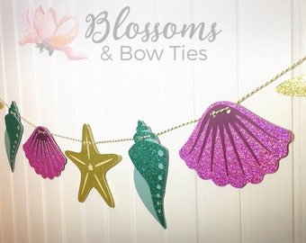 Sea Shell Glitter Banner - Under the Sea Party Decorations Happy Birthday