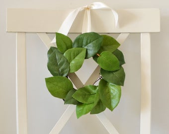 Small Greenery Wreath, Wreath Over a Mirror or Frame, Wedding Chair Decorations, Farmhouse Decor