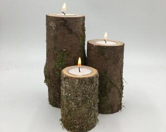 Log Candle Holder