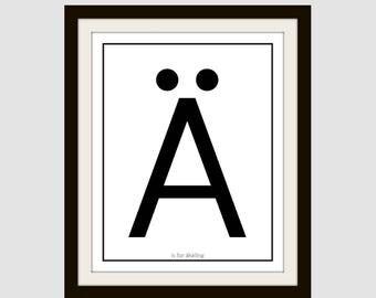 Swedish A is for Wall Print; gallery wall Print: Scandinavian Wall Art; Modern minimalist art; black and white art; home decor; nordic art