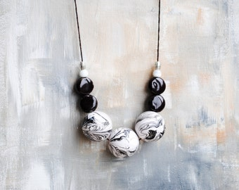 Geometric Necklace, Boho necklace, Statement Necklace, Bohemian Jewelry, Handmade necklace, Wooden Necklace, Black and White