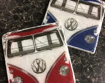 VW Campervans! Set of 2 Marble Coasters