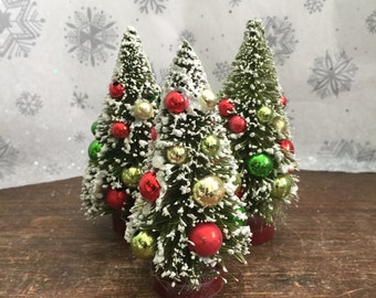 Winter Fairy Garden Set | Miniature Artificial Sisal Christmas Trees Set of 3 | Flocked with Colorful Bulbs | Ready to Display or Gift