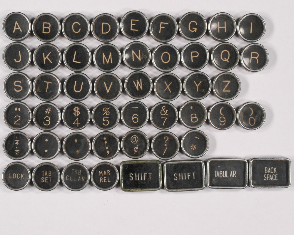 Typewriter key flat back vintage antique 1947 royal kmm for Jewelry supply colorado springs
