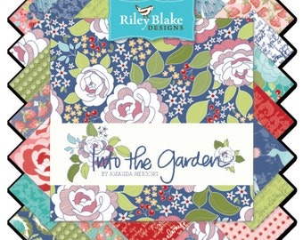 """Riley Blake Into the Garden fabric collection - 5"""" square stackers-42 pieces total"""