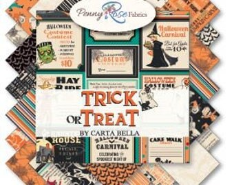 """Trick or Treat Fabric Collection by Penny Rose - 5"""" square stackers, 42 piece assortment"""