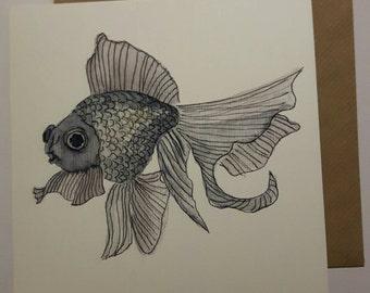 Goldfish / Black telescope fish - blank art card