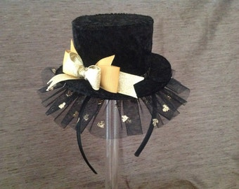 Mini top hat fascinator handmade, in Black crushed velour, with gold accents