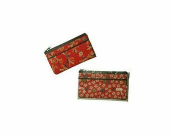 Japanese Fabric Zipper Pouch Coin Pouch Change Purse   Japanese Coin Purse Kimono Clutch Bag   Kimono Bag Japanese Purse Gift for Her