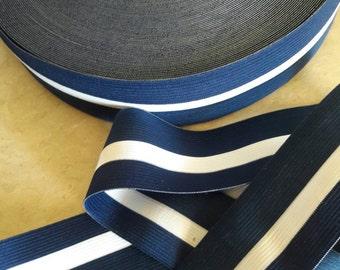 "2"", Elastic STRIPE Navy Blue, white garter, printed elastic,  decorative garter, waistline attachment, white and blue elastic, pants elastic"