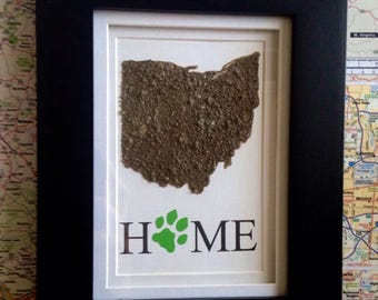 Ohio Dirt Map-Ohio University-Athens Ohio- Go Bobcats- Home-7x9 frame