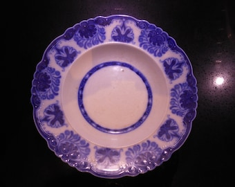 Two Flow Blue baltic pattern Victorian plates