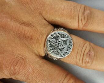 Freemason Masonic Mason Freemasonry Compass Celtic Knot Sterling Silver 925 Ring