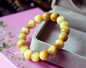 Natural Golden Tiger Eye Gemstone Round Beads Bracelet-10mm / 金虎眼水晶手鏈