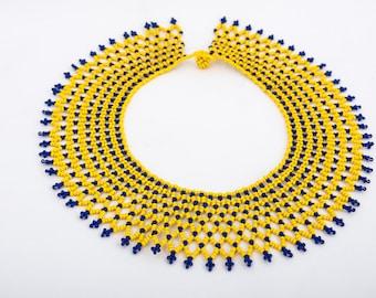 Yellow beaded Collar