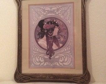 Art Nouveau Hand Carved Frame Antique