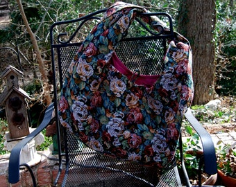 Black and rose Tapestry Hobo Bag
