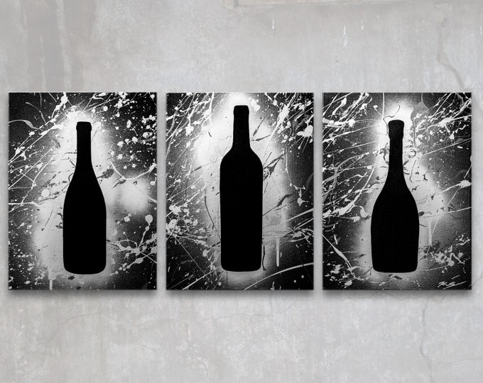 wine // custom original painting // set of three // modern tripriptych // kitchen + dining room art // metallic large wall art // silhouette