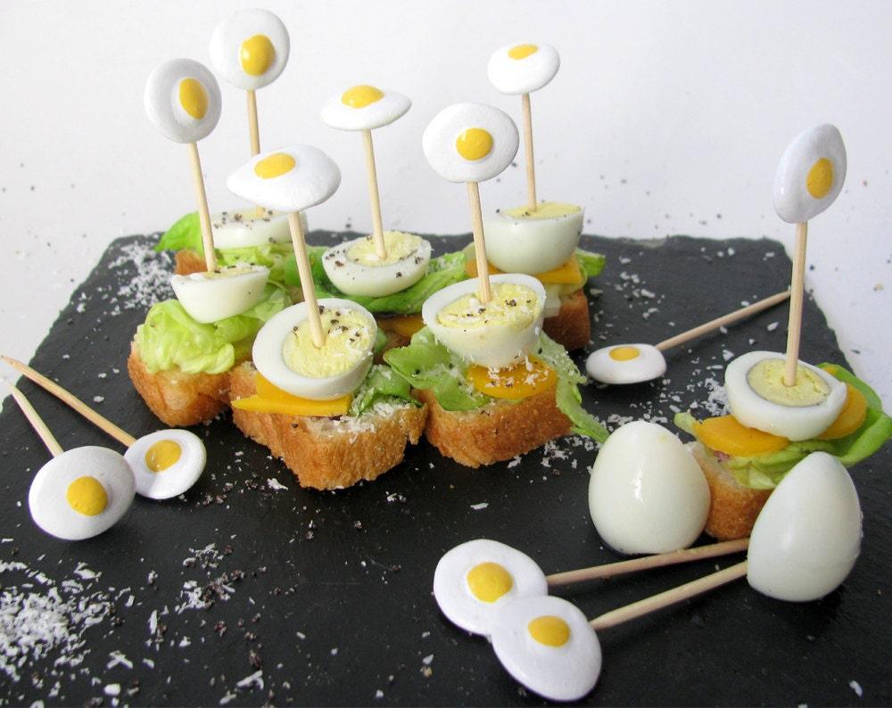 Table Art Decor: 12 Artistic Handmade Ceramic Cocktail Picks - Fun Buffet Sticks - Eggs & Appetizers Picks - Chique Cocktail Party Pick Set