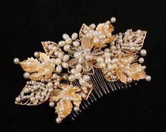 Gold leaf hair comb, wedding hair comb wedding hair comb gold, bridal headpiece, bridal hair comb, gold bridal hair comb, vintage hair comb