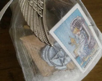 Mojo Bag and Tarot Reading customized and personalized and made to order money career love road opening spiritual development (sold as curio