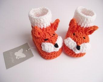 Crochet Baby Booties, Crochet Baby Fox Booties,  Baby Fox Booties, Crochet Fox Boots, Crochet Baby Boots, Crochet Baby Shoes