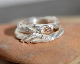 Wedding rings * TRISTAN UND ISOLDE * Silver Gold Diamond